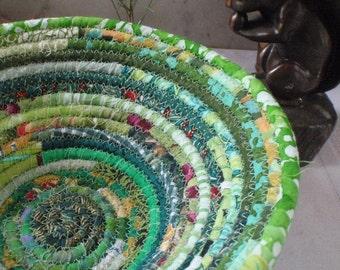 Green Gypsy Coiled Fabric Basket - Bohemian, Boho, Hippie, Colorful, Handmade Fabric Bowl, Catchall
