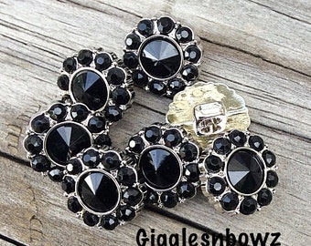 Black Rhinestone Buttons- 15mm Rhinestone Buttons-  You Choose Quantity- Headband Supplies- Diy Wedding- Brooch Bouquet- Sewing Button