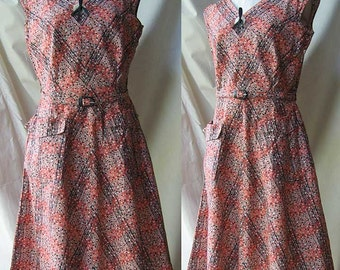 Cotton Print Dress with Big Button