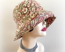 Cotton Sunhat-  Women's Fabric Cloche-  Size S- Ready to Ship-  Cotton Cloche Hat - Elegant Chemo Cloche- Downton Abbey Cloche  Handmade USA