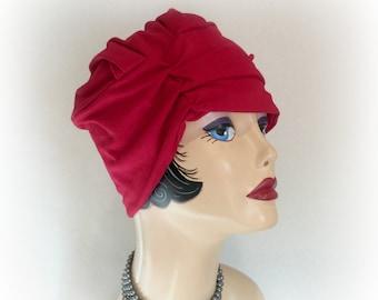 Red Turban Cloche - Red Jersey Cloche - Flapper Cloche -  !920s Style Cloche - Soft  Chemo Cloche - Soft Jersey Cloche - Handmade in the USA