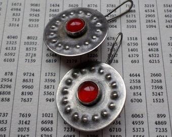 Carnelian & Sterling Silver Earrings, Round Burnt Orange Stone Industrial Ethnic Tribal Shield Silversmith Sterling Earrings, Silver Jewelry