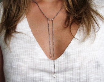 Minimal long necklace Modern stainless steel necklace Long lariat Y necklace Clear rock crystal necklace Womens gift For her Summer outfit