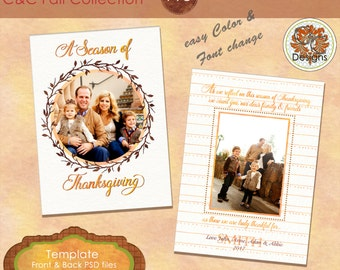 A Season Of Thanksgiving Photo Card, ***Instant Download*** Autumn Photo Ca