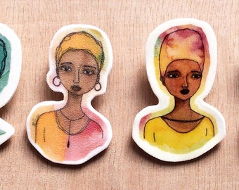 Set of 4 Small African American Brooches