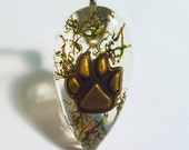 Animal Paw Print Real Green Moss Nature Pendant  Resin Necklace Pet Charm Dog Cat Bear Bohemian Jewelry Teardrop