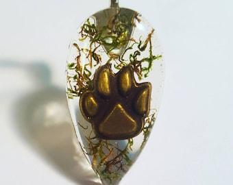 Animal Paw Print Real Green Moss Nature Pendant  Resin Necklace Pet Charm Dog Cat Bear Bohemian Jewelry Teardrop