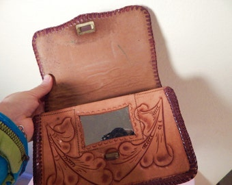Vintage Mexican purse, tooled leather purse, with Mirror, western purse
