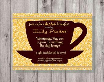 Digital Coffee Cup Bridal Breakfast Wedding Shower Printable Invitation DIY