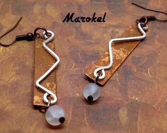 Vintaj Copper Earrings metal Silver Wire Frosted Glass bead Abstract Minimalist Slender