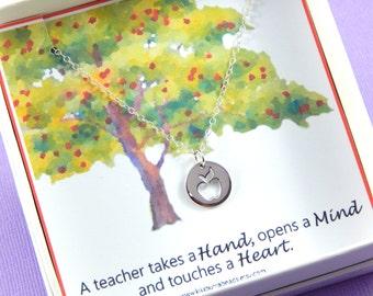 Apple Necklace, Teachers Necklace, Thank you Gift, Teacher appreciation gift