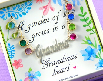 Gift For Grandma, Grandmother's Necklace, Birthstone Necklace, Sterling Silver, Gift Boxed Jewelry
