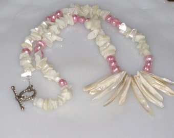 Pink and Cream Freshwater Pearl Necklace,  Freshwater Pearl Necklace, Summer Necklace