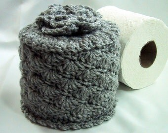 Cover Your Spare - Toilet Paper Cover w- Flower on Top - TP Cozy - Hand Crocheted in Heather Gray - Acrylic Yarn -Bed & Breakfast Decor
