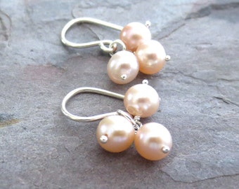 Pink Freshwater Pearl Earrings Sterling Silver. Creamy Pink Freshwater Pearl Earrings in Sterling Silver