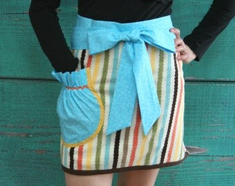 Towel Apron - Hostess Apron - Summer Stripes - Bridesmaid Gift - Shower Hostess Gift