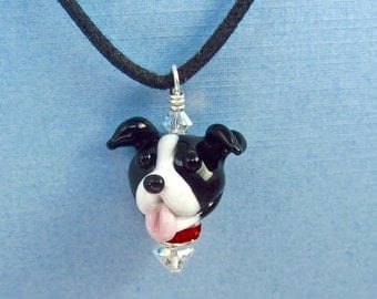 Pit Bull Terrier Lampwork Bead Necklace SRA