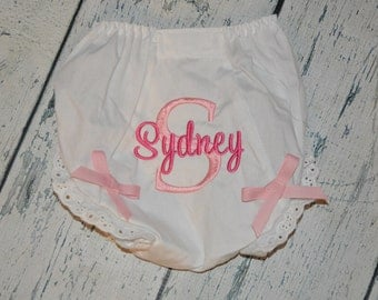 Personalized Bloomers with bows Diaper Cover in your custom colors and font