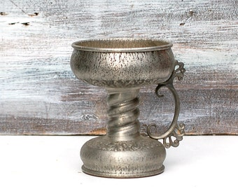 Vintage Norwegian Pewter Eik Norway Herdet Tinn Large Combination Bowl/Candleholder Acanthus Leaf Rosemaling Viking