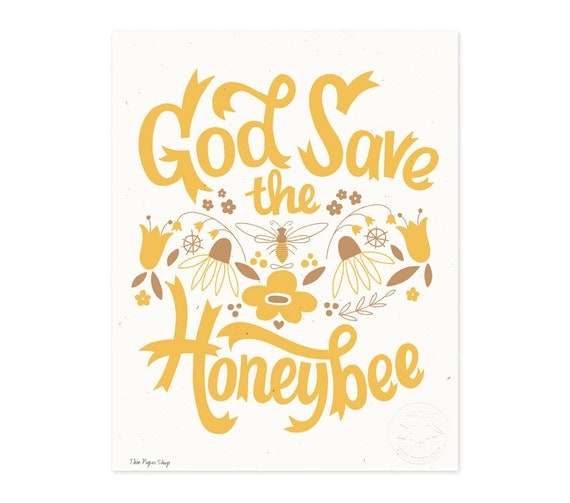 God Save the Honeybee Illustrated Art Print