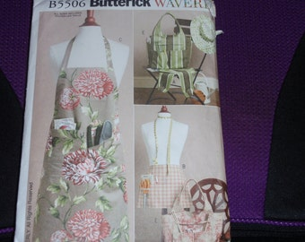 Butterick 5506 Waverly  aprons, Sleeves, Tote and Hat Size Smi-Med-Lrg  New Uncut