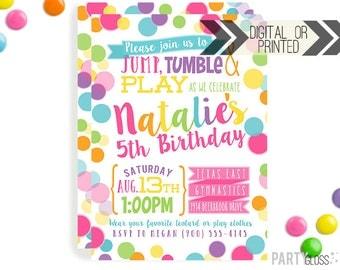 Bounce House Invitation | Digital or Printed | Trampoline Invitation | Gymnastics Invitation |  Jump Invite | Gymnastics Birthday Invite
