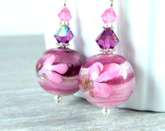 Purple Pink Murano Dangle Earrings, Floral Glass Earrings, Venetian Glass Earrings, Murano Jewelry Sterling Silver Jewelry Romantic Earrings