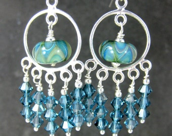 Boho Earrings, Green Blue Chandelier Earrings, Aqua Blue Crystal Earrings, Statement Earrings, Boro Lampwork Glass Earrings. Dangle Earrings