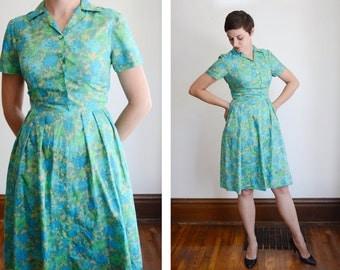 1950s/1960s Blue and Green Shirtwaist Dress - S