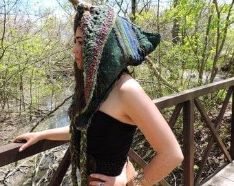 Elven goddess crochet reversible festival hood