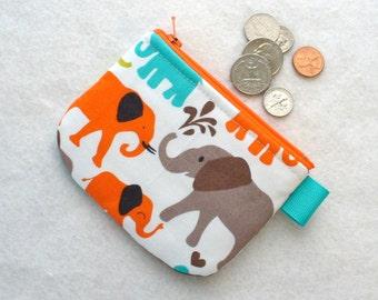 Boys Girls Cute Mini Coin Purse Elephant Walk Mini Change Purse Little Zipper Coin Purse Michael Miller Handmade MTO