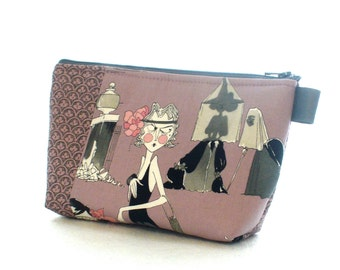 Ghastlies Fabric Large Cosmetic Bag Zipper Pouch Padded Makeup Bag Zip Pouch Alexander Henry Mauve 20s Flapper Darla Ghastlie Witch GRM