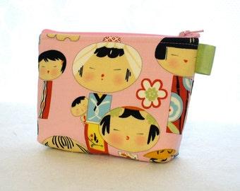 Yui Kokeshi Dolls Cosmetic Bag Fabric Zipper Pouch Makeup Bag Alexander Henry Fabric Gadget Pouch Japanese Pink MTO