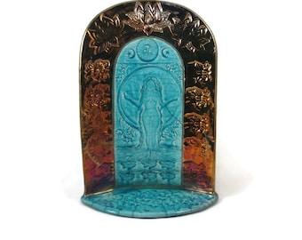 SHRINE Goddess  Gaia RAKU Pottery HANDMADE Turquoise