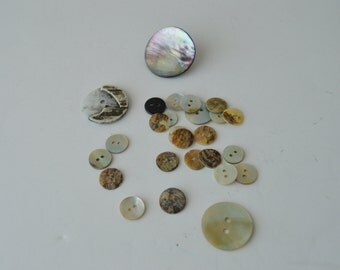 Mother of Pearl Buttons x 26 - Various shades, styles, sizes, etc.