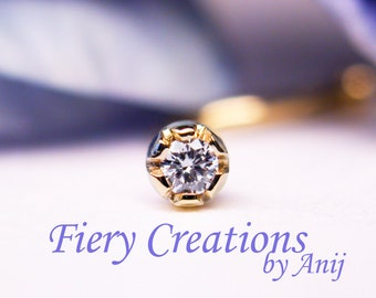 """Tragus stud or Nose Screw  """"Baby Thistle Bud"""" - Fine White 1.5mm Diamond set in 18k SOLID Yellow Gold"""