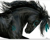 Majestic Horse Friesian Turquoise War Paint Native American Spirit Horse ArT-  Giclee Print by Bihrle mm153