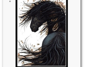Majestic Horse Feathers Black Stallion Friesian - Original Painting by BiHrLe mm143
