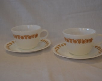 Set of 2 Corningware milk glass vintage cups and saucers