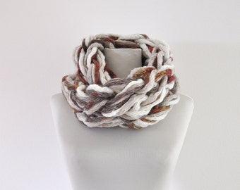 Chunky Chain Scarf, Crochet Infinity Scarf, Circle Scarf