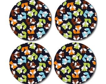 Coasters -  little foxes -  set of 2, 4, 6, or 8 - hostess gift, coworker gift, Christmas gift, house warming gift, teachers gift
