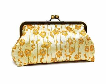 Gold Clutch, Kisslock Purse, Bridesmaids Gifts, Gold Daisy, Flower Brocade, Navy Blue