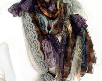 Mix yarn scarf, Lariat necklace, Boho scarf, Hippie gypsy scarf, Infinity scarf, Tassel scarf, Art to wear, Fairy scarf, Etsy Gifts for her