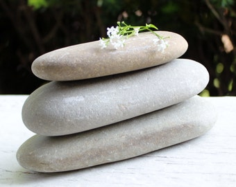 Natural Oblong Lake Erie Stone Cairn , Loose Stones for a DIY Sculpture  and Zen Garden Decoration
