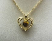 PRICE REDUCED.  Classic Pendant Necklace, Gold Plated Heart with Tiger Eye Stone, Vintage Gold Plated Chain.
