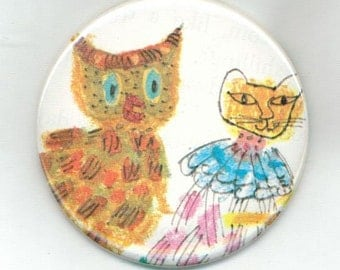 Owl and Cat - Pinback Button 2 1/4 Inch OOAK