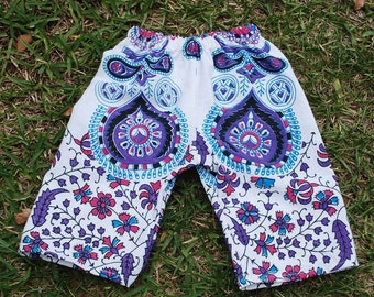 Hippie Kids pants -Purple Peacock - size 6-9 months -Boys or Girls- Read measurements