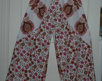 "Hippie Pants- Length 39 ""Hips 52"" -White Pink Peacock - one size fits most- read measurements"