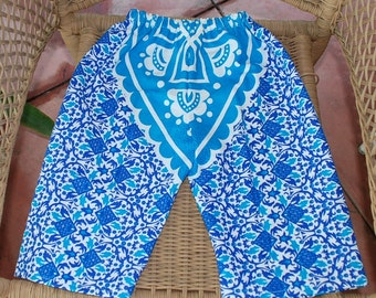 Hippie Kids pants -Blue Mandala - size 2 -Boys or Girls- Read measurements