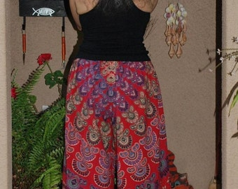 "Hippie Pants - East Indian fabric - Red Peacock Sanganeer - 40"" Long- Hips 58"" Read Measurements"